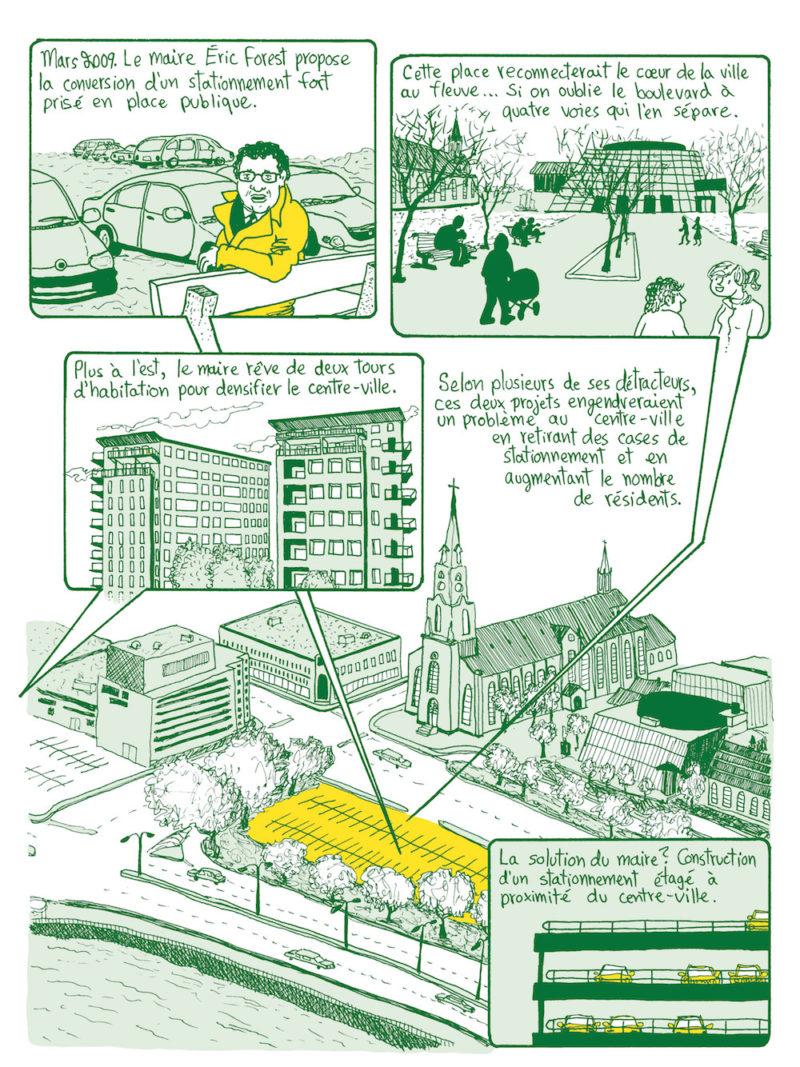Extrait d'un bédéreportage sur la transition environnementale à Rimouski